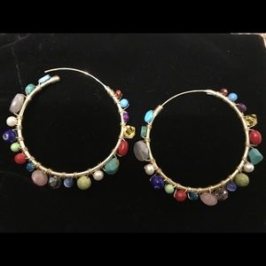 Multi Colored Wrapped Beaded Hoops